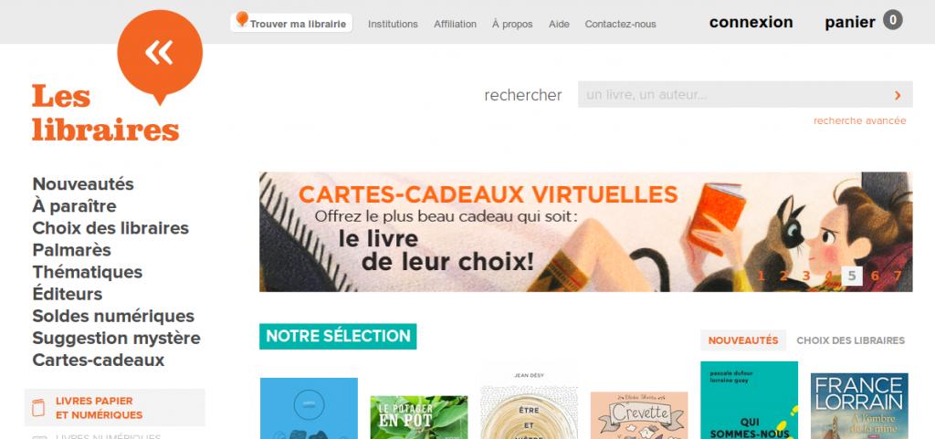Copie d'écran du site Les libraires